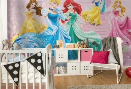 Princesses pink bedroom wallpaper mural